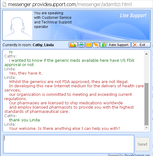Customer Service Support via Live Chat on Generictabs.com