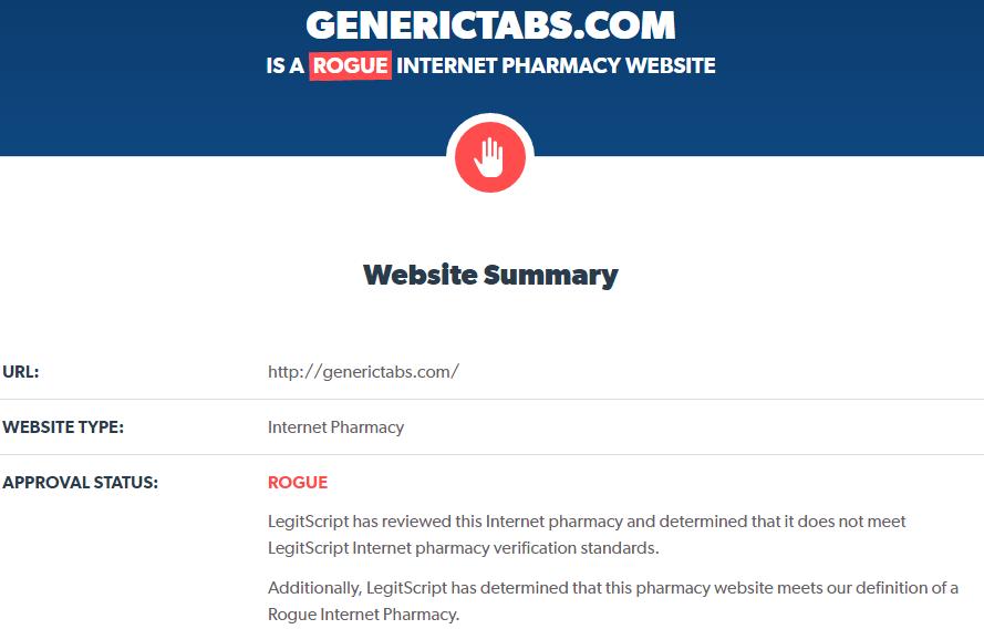 Reputation analysis of Generic Tabs by LegitScript