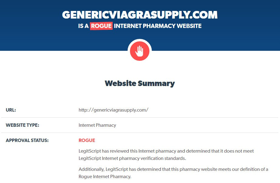 Review on Genericviagrasupply by LegitScript
