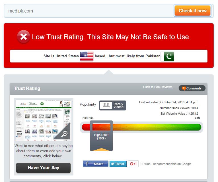Medi Pk Trust Rating by Scamadviser