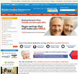 Homepage of Reliablecanadianpharmacy.com