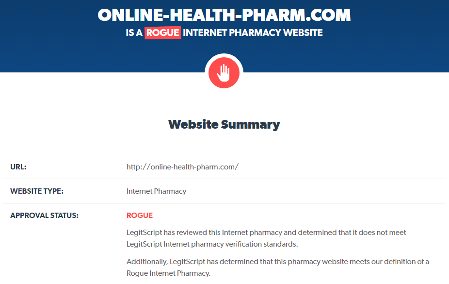 Reputation Analysis of Online-health-pharm.com by Legitscript