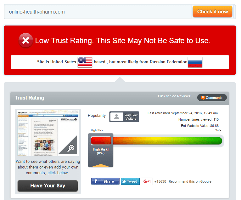 Online-health-pharm.com Trust Rating by Scamadviser