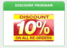 Discount Program: 10% Discount on All Re-orders