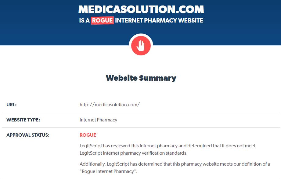 Reputation Analysis of Medicasolution.com by Legitscript