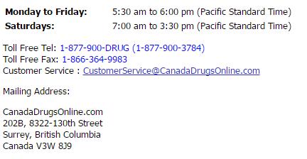 Canadadrugsonline.com Contact Information