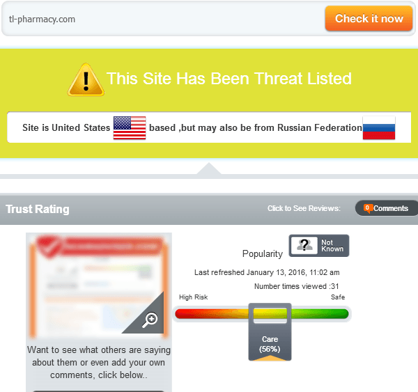 Tl-pharmacy.com Trust Rating