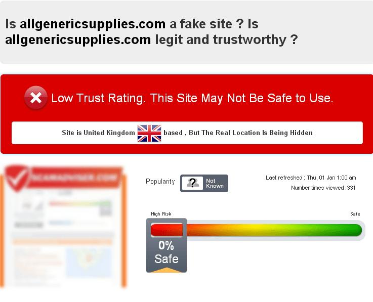Is Allgenericsupplies.com a Fake Site?
