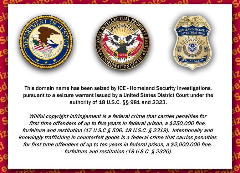 Indiagenericmeds.com has been Seized by ICE