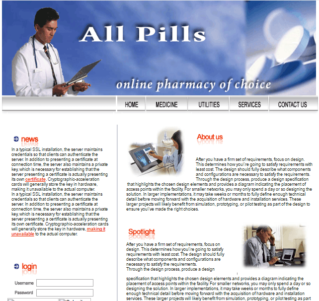 Allpills.org Mian Page
