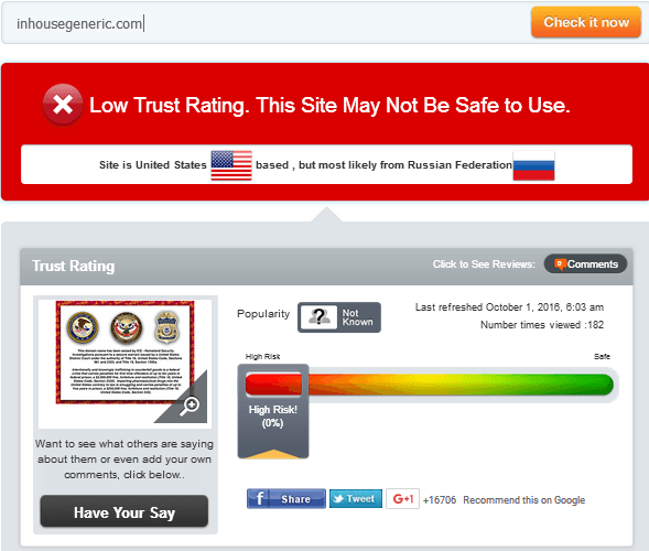 Inhousegeneric.com Trust Rating