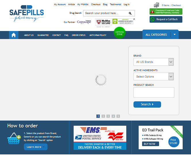 Safepills-pharmacy.com Home Page