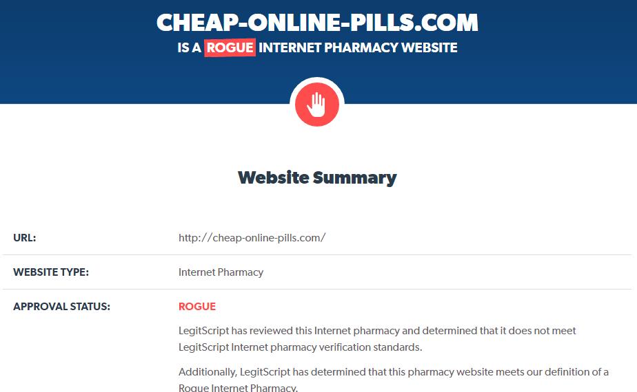Cheap-online-pills.com Is a Rogue Internet Pharmacy