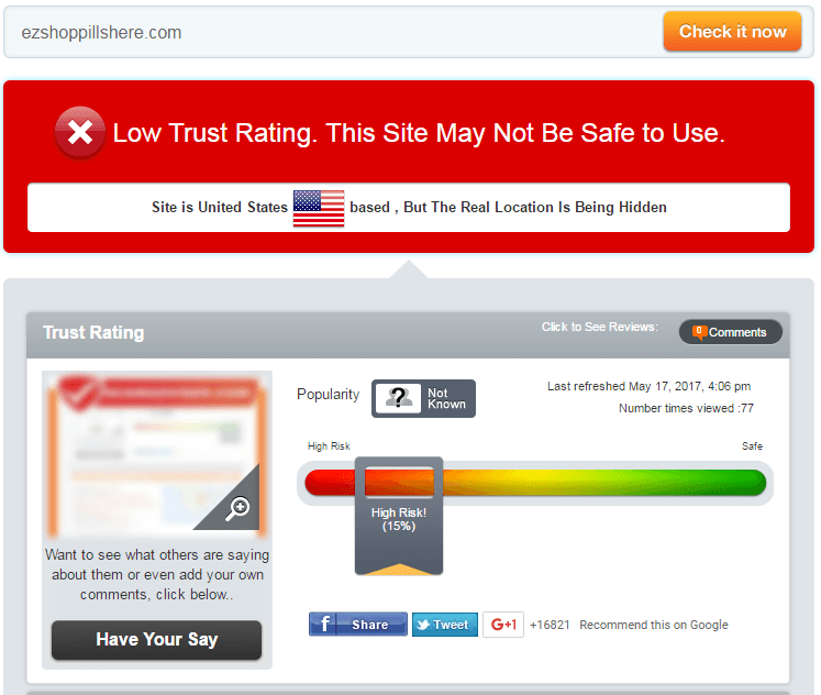 Ezshoppillshere.com Trust Rating