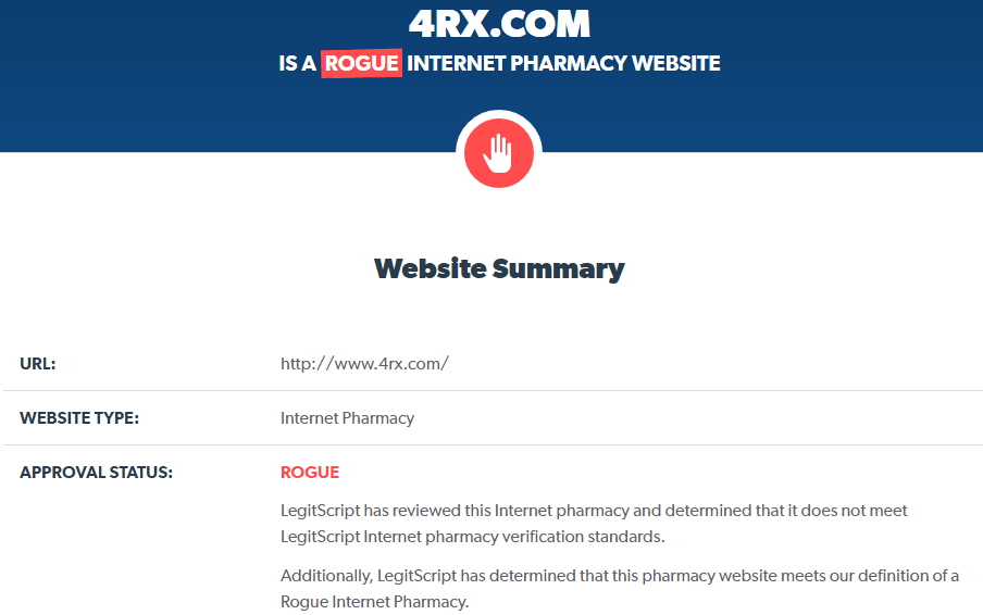 4rx.com Is a Rogue Internet Pharmacy