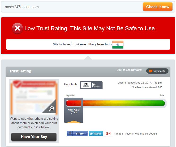 Meds247online.com Trust Rating
