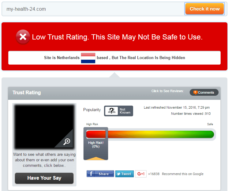 My-health-24.com Trust Rating