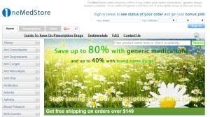 Onemedstore.com Main Page