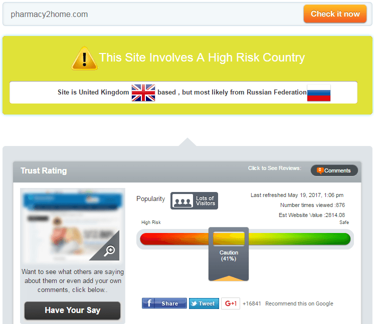 Pharmacy2home.com Trust Rating