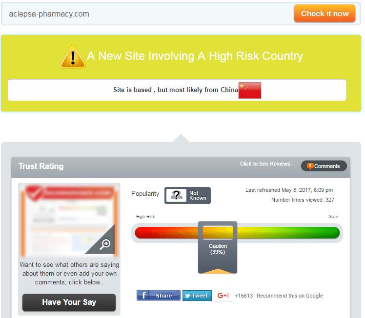 Aclepsa-Pharmacy.com Trust Rating