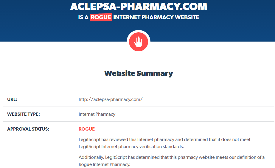 Aclepsa-Pharmacy.com Is a Rogue Internet Pharmacy