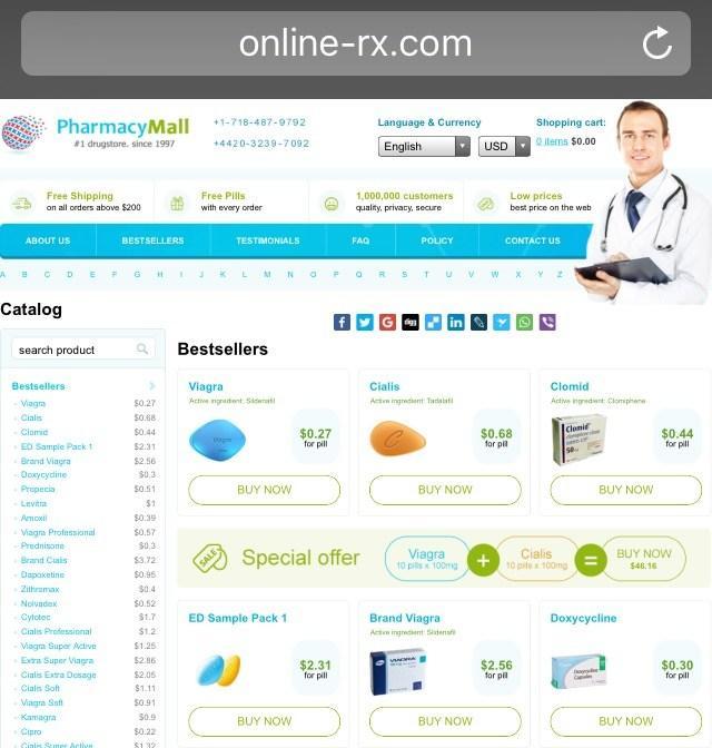 Online-rx.com (Pharmacy Mall) Homepage
