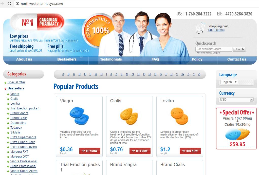 N1 Canadian Pharmacy (Northwestpharmacyca.com) Home Page