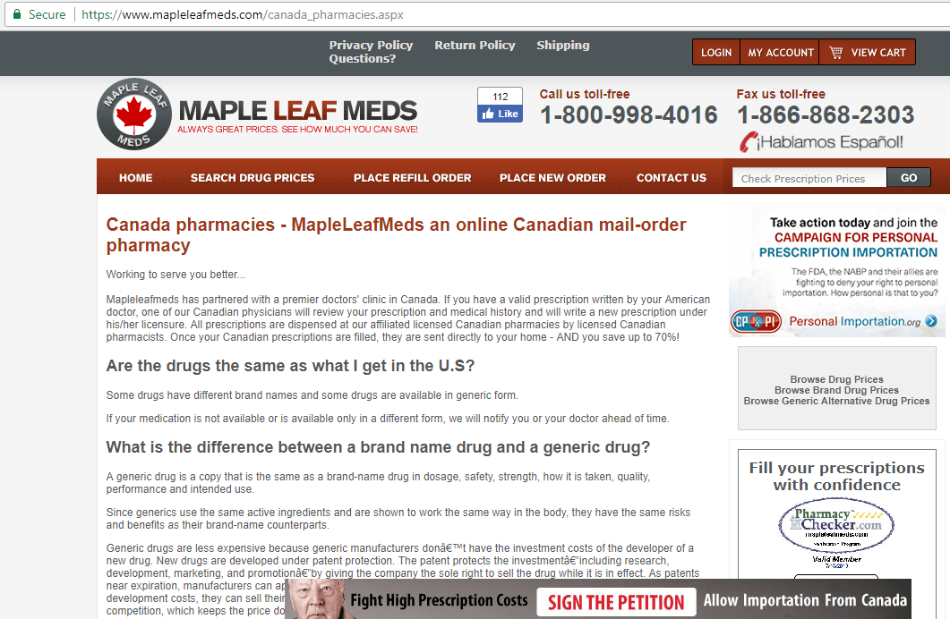Canadian Mail Order Pharmacy Home Page