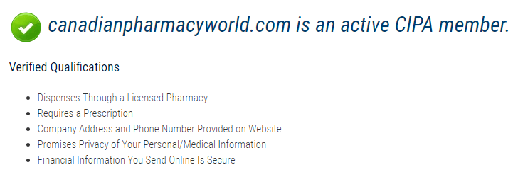 Canadian Pharmacy World is an active CIPA member