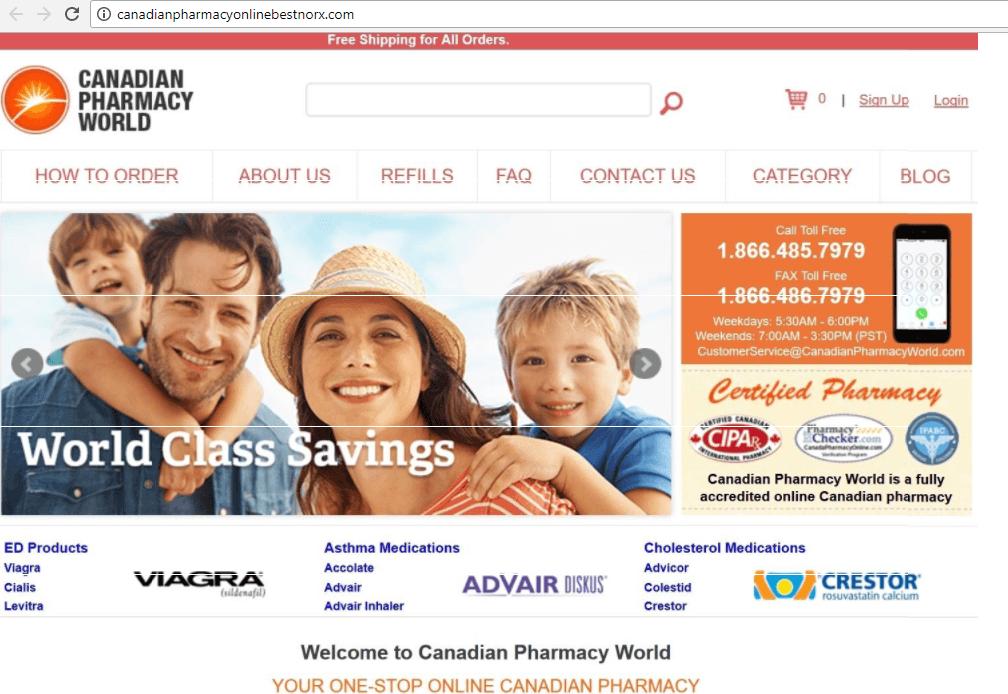 Canadianpharmacyonlinebestnorx.com (Canadian Pharmacy World) Home Page