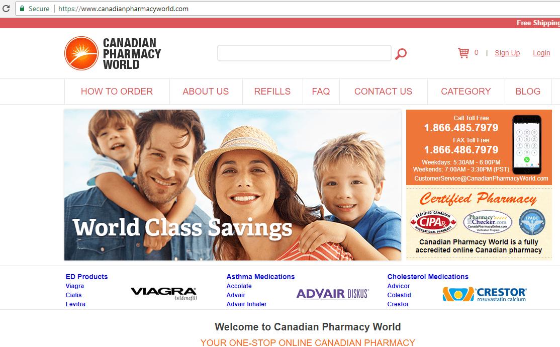 Canadianpharmacyworld.com (Canadian Pharmacy World) Home Page