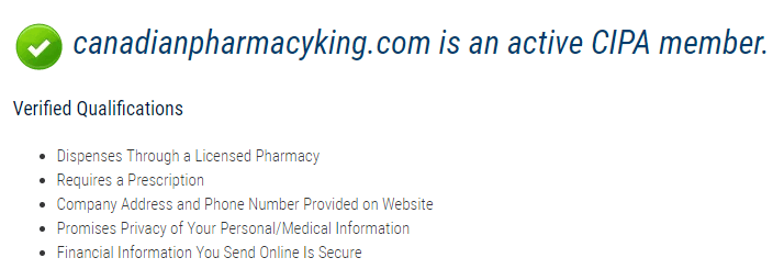 Canadian King Pharmacy is an Active CIPA Member