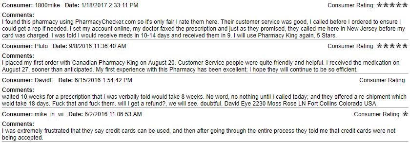Canadian King Pharmacy Feedback