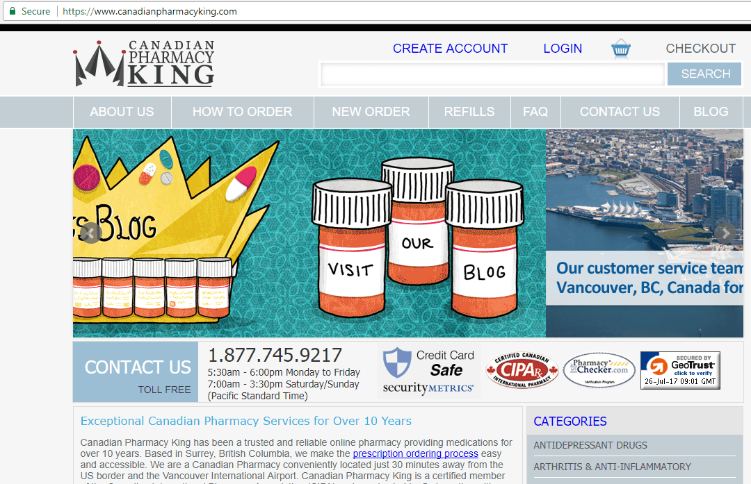 Canadianpharmacyking.com (Canadian King Pharmacy) Home Page