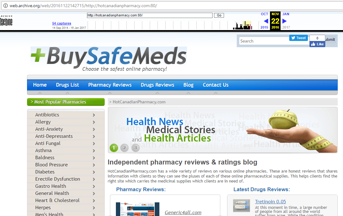 Hot Canadian Pharmacy (Hotcanadianpharmacy.com) Home Page From Webarchive