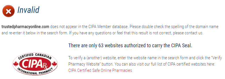 Trusted Pharmacy Online Doesn't Appear in the CIPA Member Database