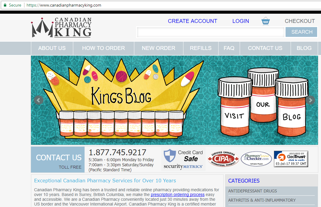 Canadian Pharmacy King Main Page