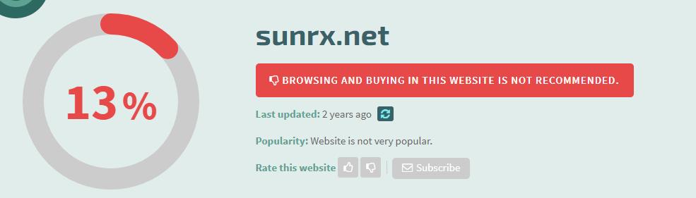 Sunrx.net Safety Level