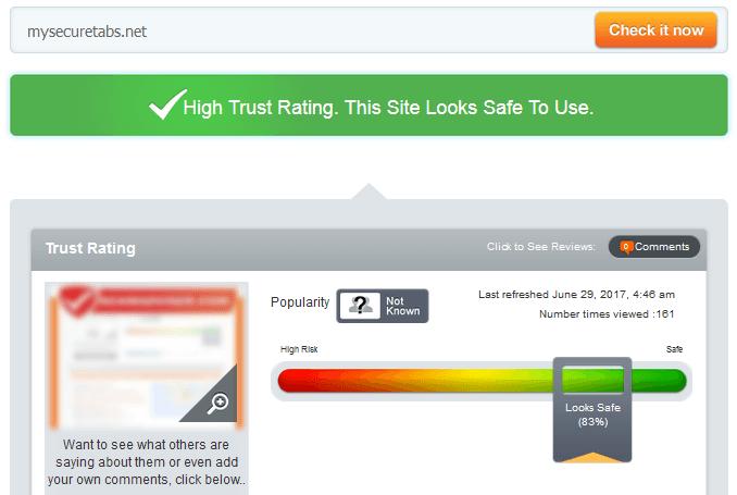 Mysecuretabs.net Trust Rating
