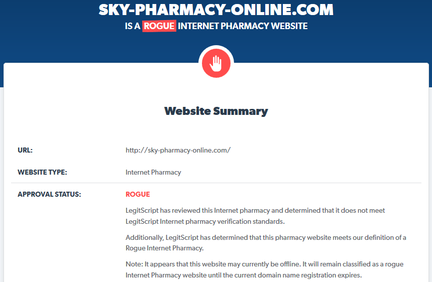 Sky-pharmacy-online.com is a Rogue Internet Pharmacy