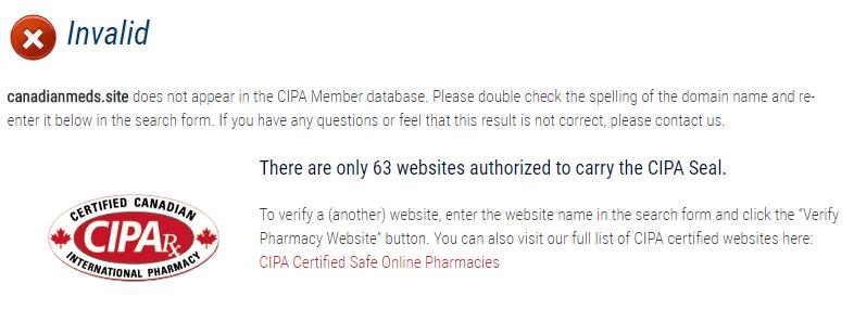 Canadian Meds Doesn't Appear in the CIPA Member Database