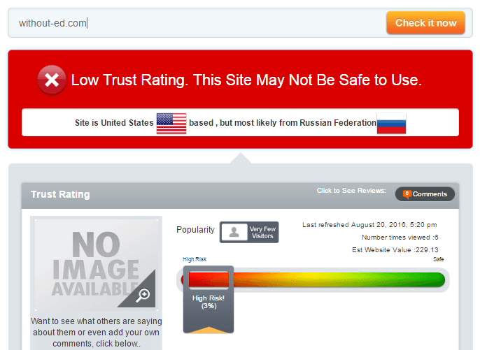 Without-ed.com Trust Rating