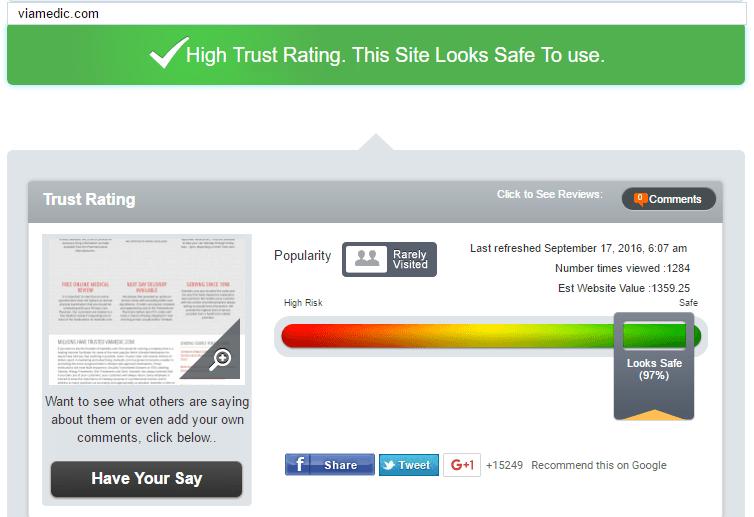 Viamedic.com Trust Rating