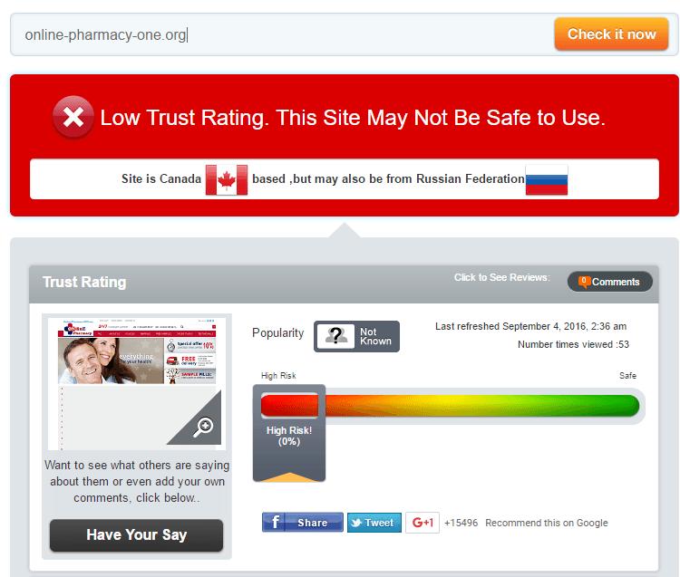 Online-pharmacy-one.org Trust Rating