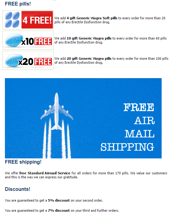 Free Airmail Delivery for All Orders of Above 170 Pills on Rx-generic.net
