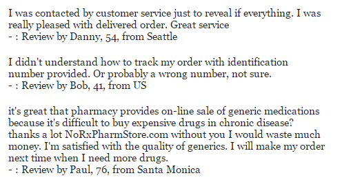 NoRxPharmStore.com Testimonials in 2016